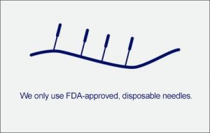We only use FDA-apporoved, disposable needles.